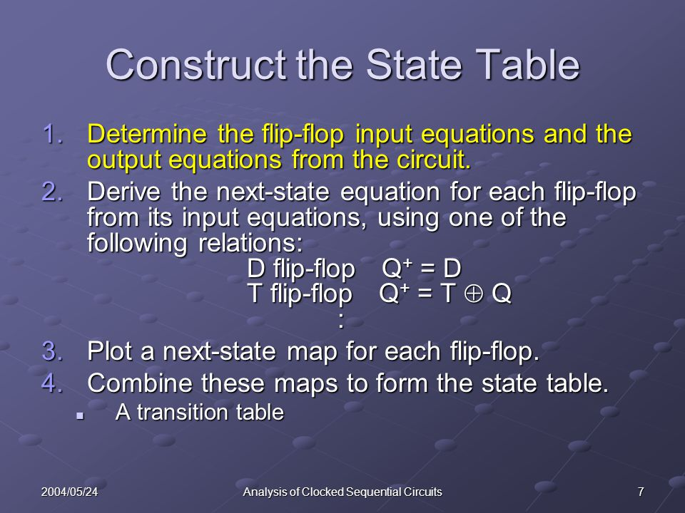 72004/05/24Analysis of Clocked Sequential Circuits Construct the State Table 1.Determine the flip-flop input equations and the output equations from t