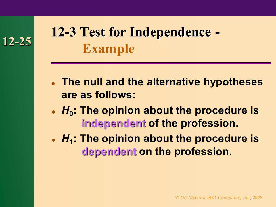 © The McGraw-Hill Companies, Inc., 2000 12-25 The null and the alternative hypotheses are as follows: independent H 0 : The opinion about the procedur