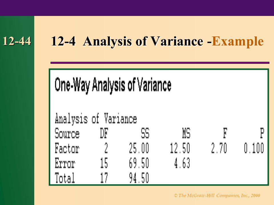 © The McGraw-Hill Companies, Inc., 2000 12-44 12-4 Analysis of Variance- 12-4 Analysis of Variance -Example