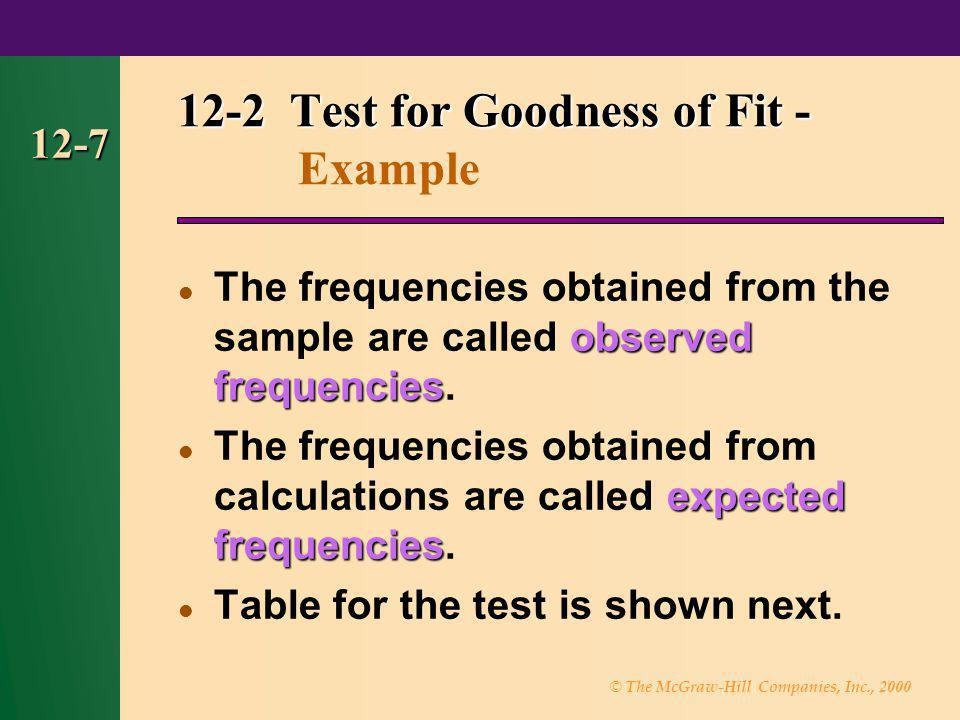 © The McGraw-Hill Companies, Inc., 2000 12-7 observed frequencies The frequencies obtained from the sample are called observed frequencies. expected f