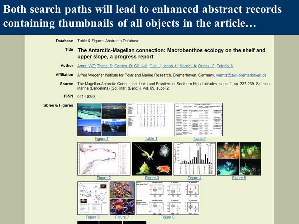 Both search paths will lead to enhanced abstract records containing thumbnails of all objects in the article…