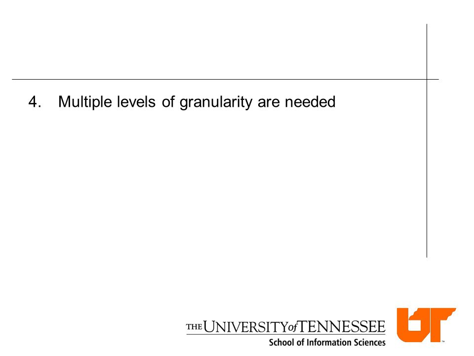 4.Multiple levels of granularity are needed