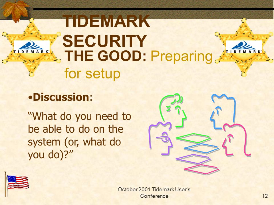 October 2001 Tidemark User s Conference11 TIDEMARK SECURITY Gather ALL users, departments or reps.