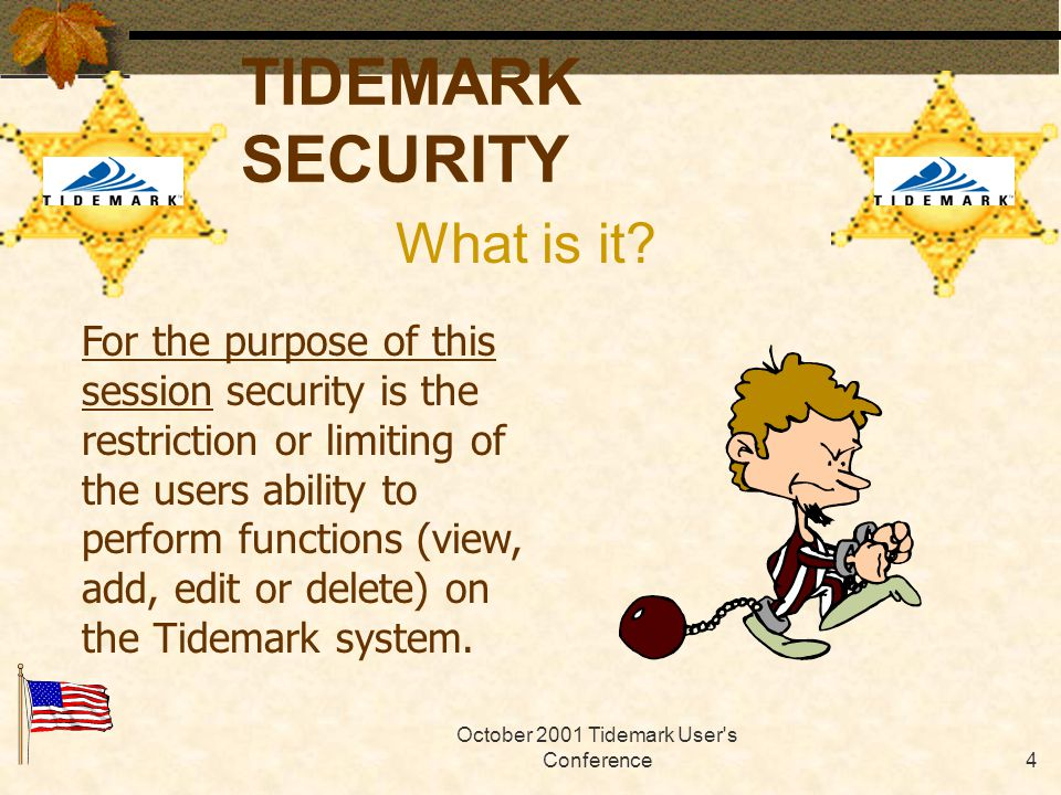 October 2001 Tidemark User s Conference3 TIDEMARK SECURITY Should you be here.