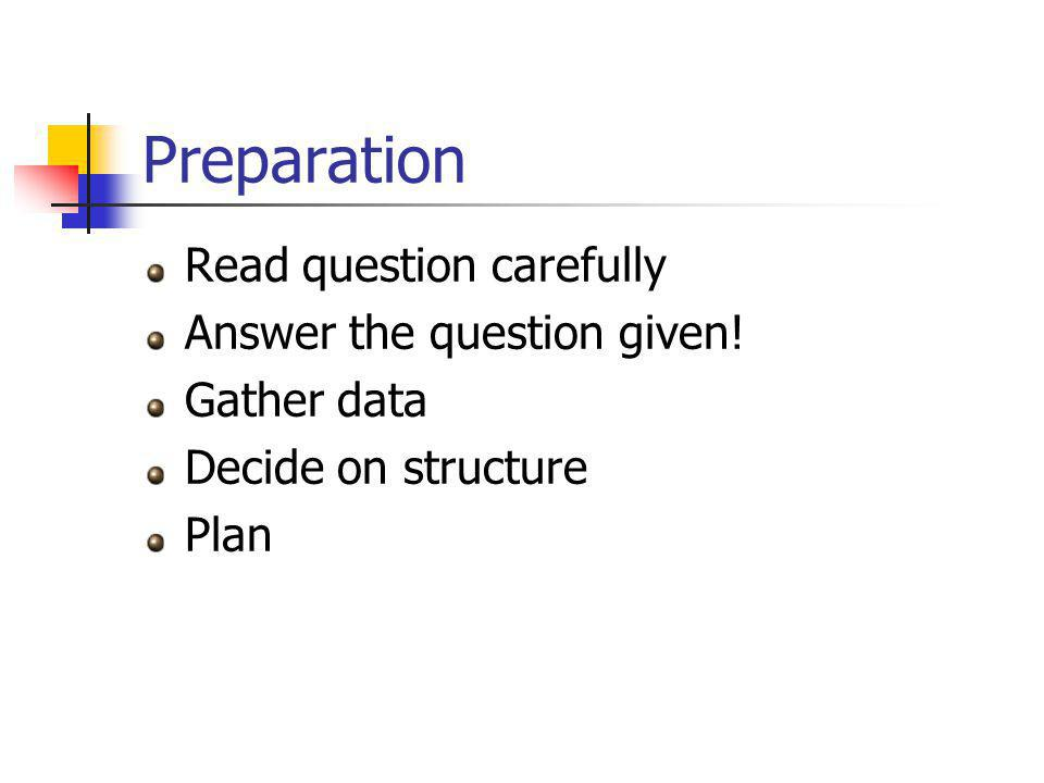 Preparation Read question carefully Answer the question given! Gather data Decide on structure Plan