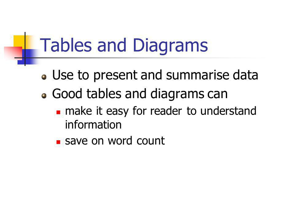 Tables and Diagrams Use to present and summarise data Good tables and diagrams can make it easy for reader to understand information save on word count
