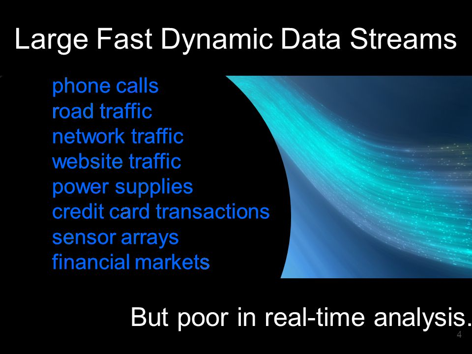 4 phone calls road traffic network traffic website traffic power supplies credit card transactions sensor arrays financial markets Data rich.