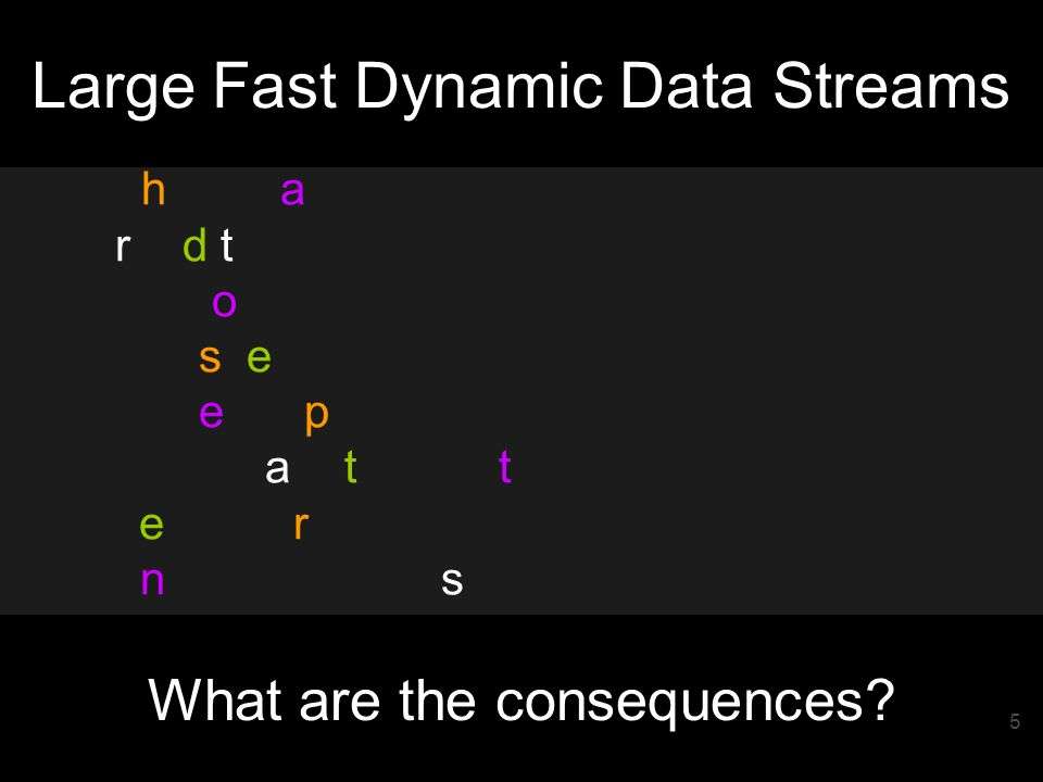 5 What are the consequences Large Fast Dynamic Data Streams 5050