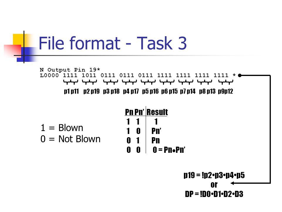 File format - Task 3 L0000 1111 1011 0111 0111 0111 1111 1111 1111 1111 * N Output Pin 19* p1 p11 p2 p19 p3 p18 p4 p17 p5 p16 p6 p15 p7 p14 p8 p13 p9p