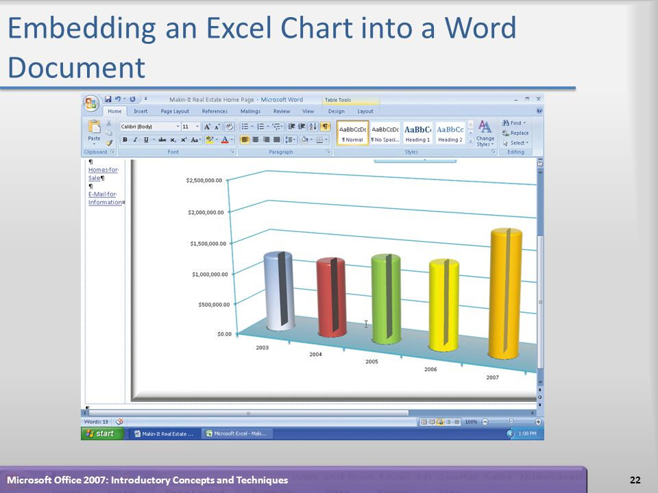 Embedding an Excel Chart into a Word Document 22Microsoft Office 2007: Introductory Concepts and Techniques