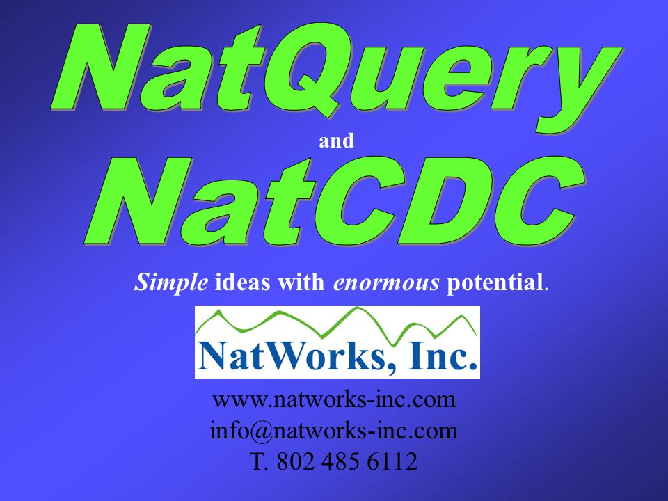 Simple ideas with enormous potential. www.natworks-inc.com info@natworks-inc.com T.
