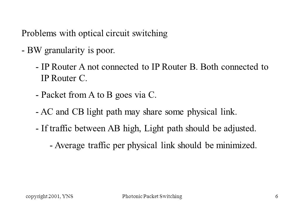 copyright 2001, YNSPhotonic Packet Switching6 Problems with optical circuit switching - BW granularity is poor.