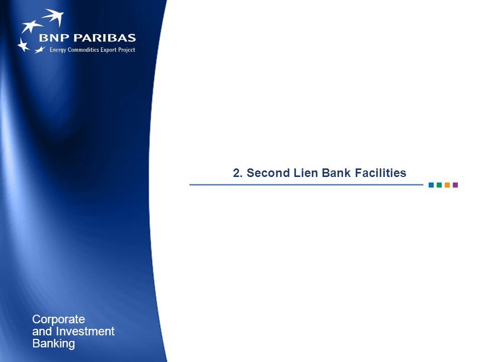 Corporate Banking and Investment 2. Second Lien Bank Facilities