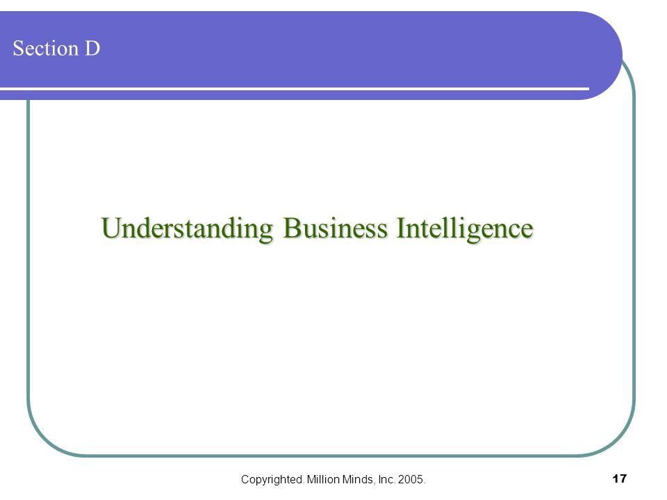 Copyrighted. Million Minds, Inc. 2005.17 Understanding Business Intelligence Section D