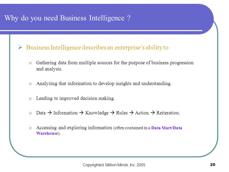 Copyrighted. Million Minds, Inc. 2005.20 Why do you need Business Intelligence .
