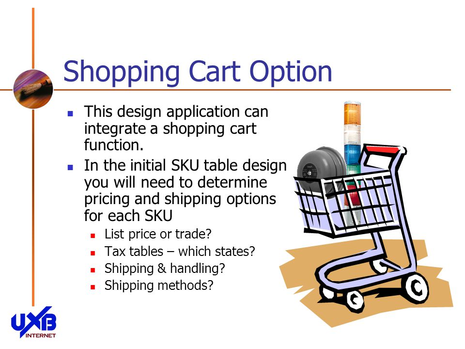 Shopping Cart Option This design application can integrate a shopping cart function.