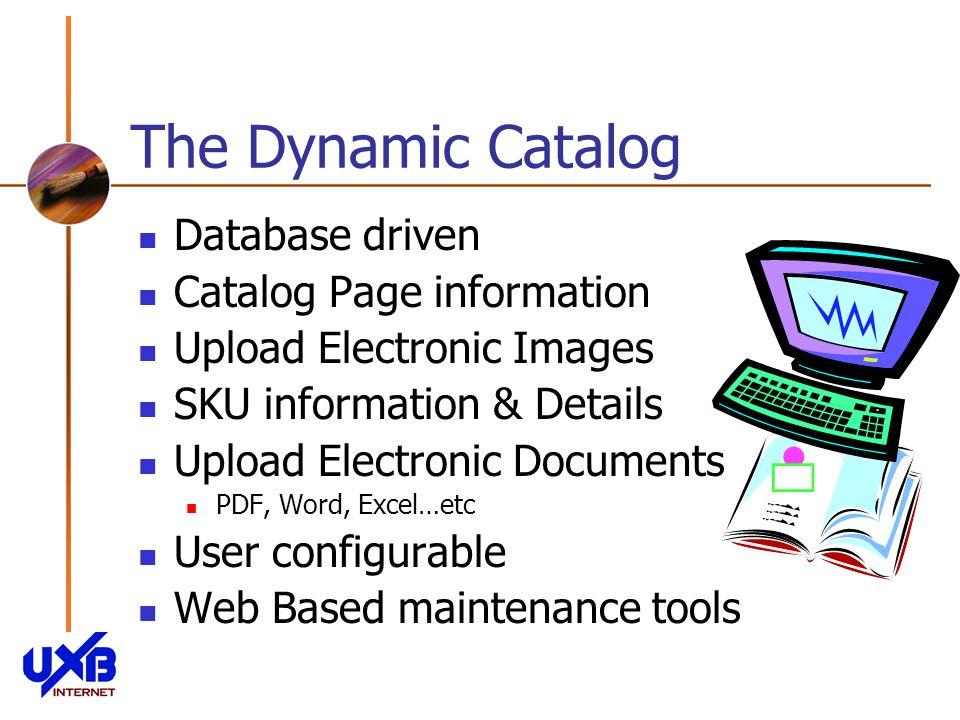 The Dynamic Catalog Database driven Catalog Page information Upload Electronic Images SKU information & Details Upload Electronic Documents PDF, Word, Excel…etc User configurable Web Based maintenance tools