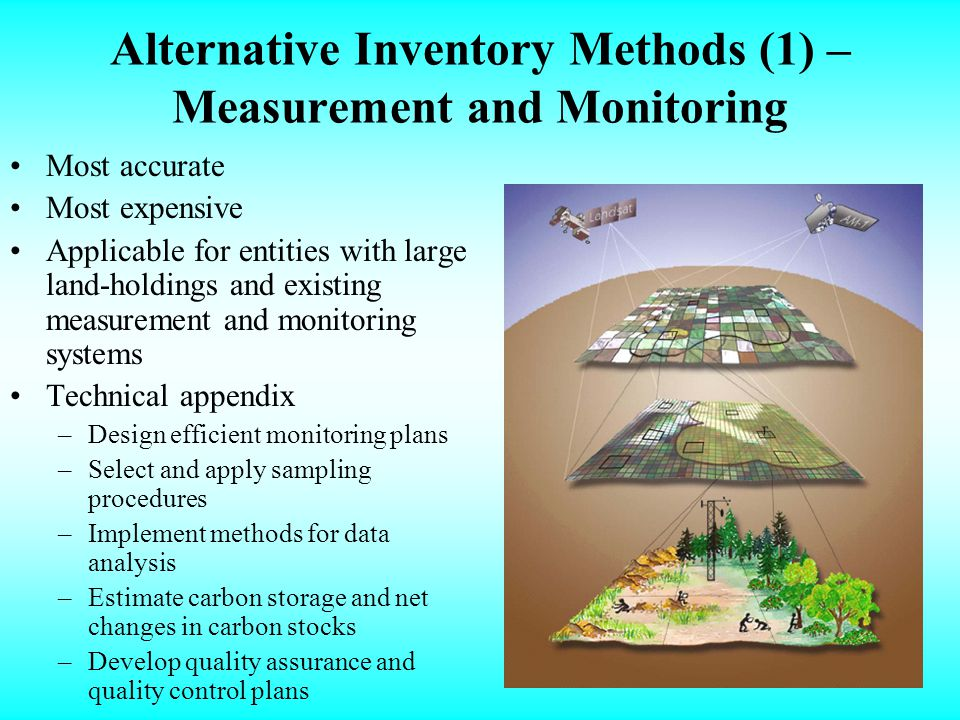 Alternative Inventory Methods (1) – Measurement and Monitoring Most accurate Most expensive Applicable for entities with large land-holdings and existing measurement and monitoring systems Technical appendix –Design efficient monitoring plans –Select and apply sampling procedures –Implement methods for data analysis –Estimate carbon storage and net changes in carbon stocks –Develop quality assurance and quality control plans