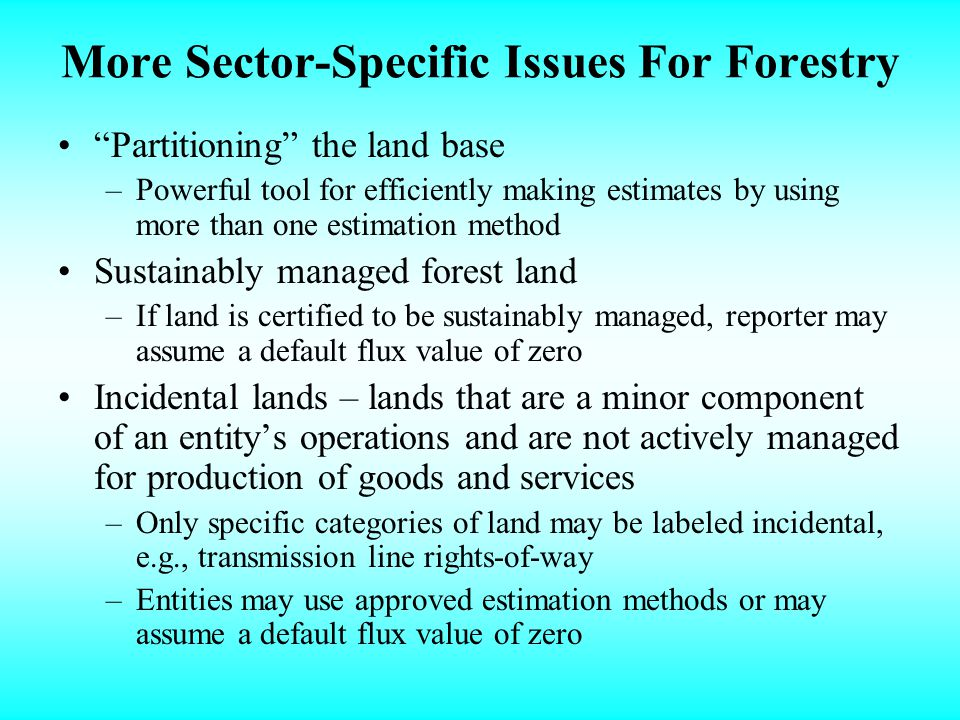 More Sector-Specific Issues For Forestry Partitioning the land base –Powerful tool for efficiently making estimates by using more than one estimation method Sustainably managed forest land –If land is certified to be sustainably managed, reporter may assume a default flux value of zero Incidental lands – lands that are a minor component of an entitys operations and are not actively managed for production of goods and services –Only specific categories of land may be labeled incidental, e.g., transmission line rights-of-way –Entities may use approved estimation methods or may assume a default flux value of zero