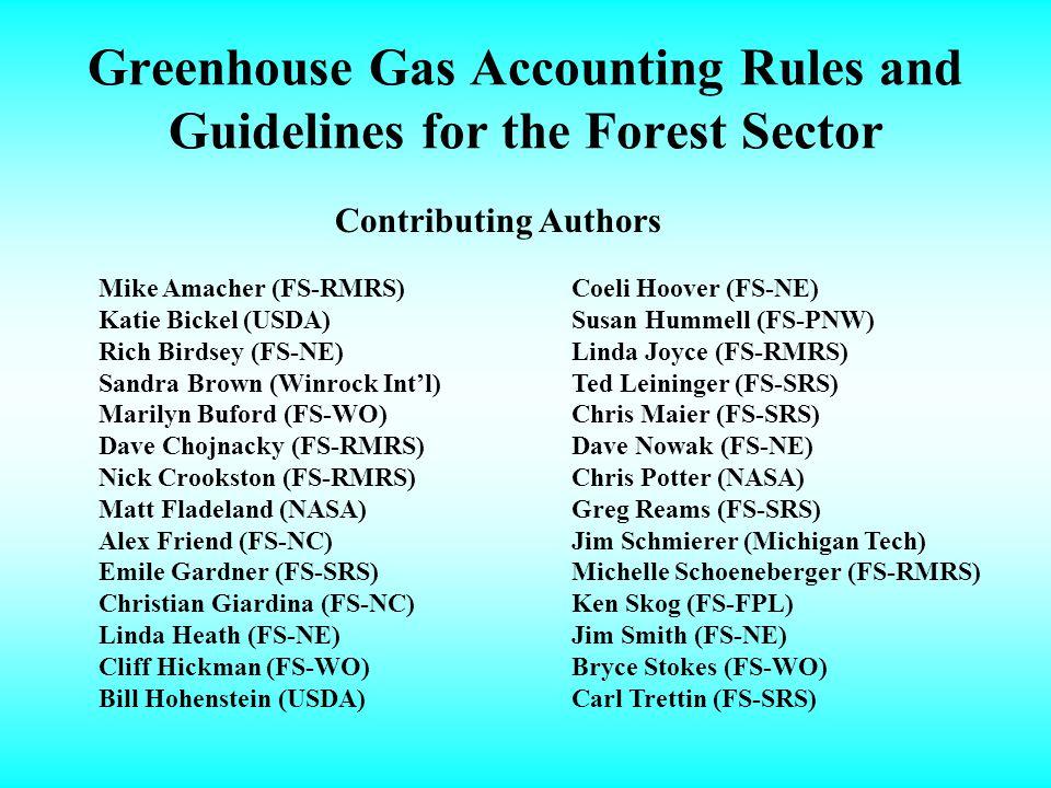 Greenhouse Gas Accounting Rules and Guidelines for the Forest Sector Mike Amacher (FS-RMRS) Katie Bickel (USDA) Rich Birdsey (FS-NE) Sandra Brown (Winrock Intl) Marilyn Buford (FS-WO) Dave Chojnacky (FS-RMRS) Nick Crookston (FS-RMRS) Matt Fladeland (NASA) Alex Friend (FS-NC) Emile Gardner (FS-SRS) Christian Giardina (FS-NC) Linda Heath (FS-NE) Cliff Hickman (FS-WO) Bill Hohenstein (USDA) Coeli Hoover (FS-NE) Susan Hummell (FS-PNW) Linda Joyce (FS-RMRS) Ted Leininger (FS-SRS) Chris Maier (FS-SRS) Dave Nowak (FS-NE) Chris Potter (NASA) Greg Reams (FS-SRS) Jim Schmierer (Michigan Tech) Michelle Schoeneberger (FS-RMRS) Ken Skog (FS-FPL) Jim Smith (FS-NE) Bryce Stokes (FS-WO) Carl Trettin (FS-SRS) Contributing Authors