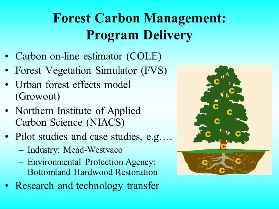 Forest Carbon Management: Program Delivery Carbon on-line estimator (COLE) Forest Vegetation Simulator (FVS) Urban forest effects model (Growout) Northern Institute of Applied Carbon Science (NIACS) Pilot studies and case studies, e.g….