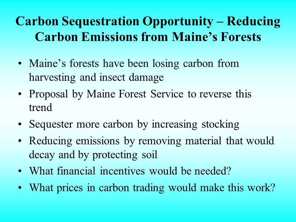 Carbon Sequestration Opportunity – Reducing Carbon Emissions from Maines Forests Maines forests have been losing carbon from harvesting and insect damage Proposal by Maine Forest Service to reverse this trend Sequester more carbon by increasing stocking Reducing emissions by removing material that would decay and by protecting soil What financial incentives would be needed.
