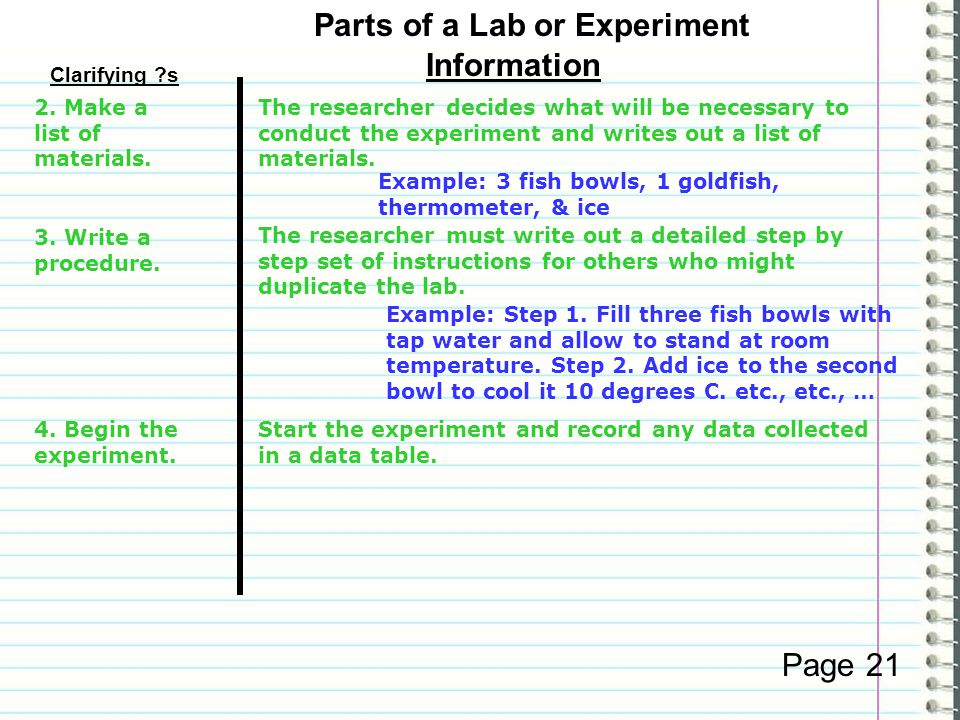 Clarifying s Information Page Something is changed in the experiment.