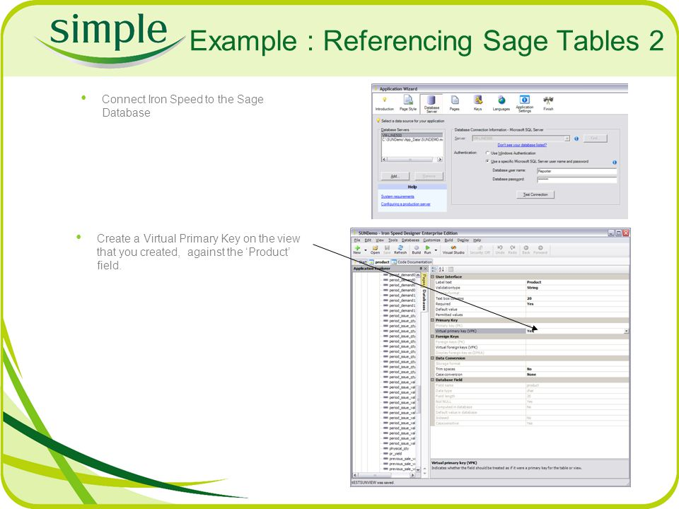 Example : Referencing Sage Tables 2 Connect Iron Speed to the Sage Database Create a Virtual Primary Key on the view that you created, against the Pro