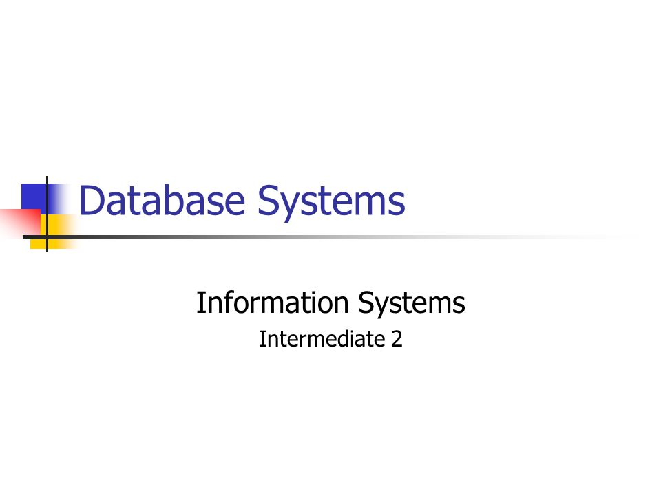 Database Systems Information Systems Intermediate 2