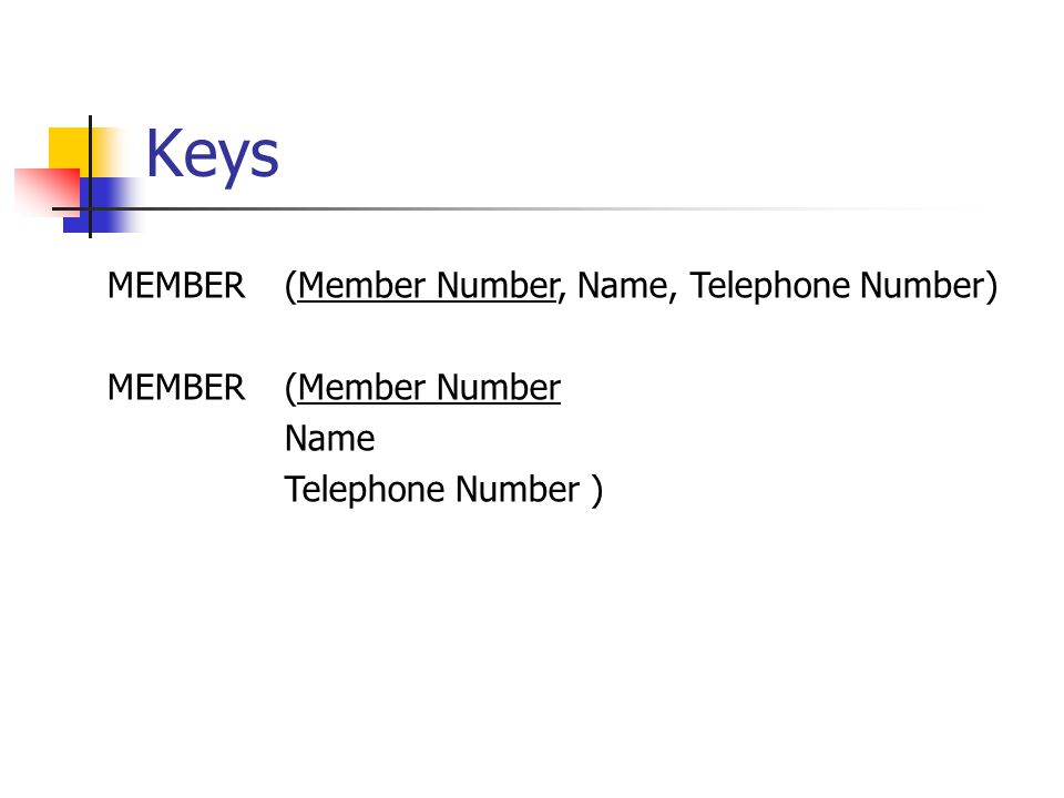 Keys MEMBER (Member Number, Name, Telephone Number) MEMBER(Member Number Name Telephone Number )