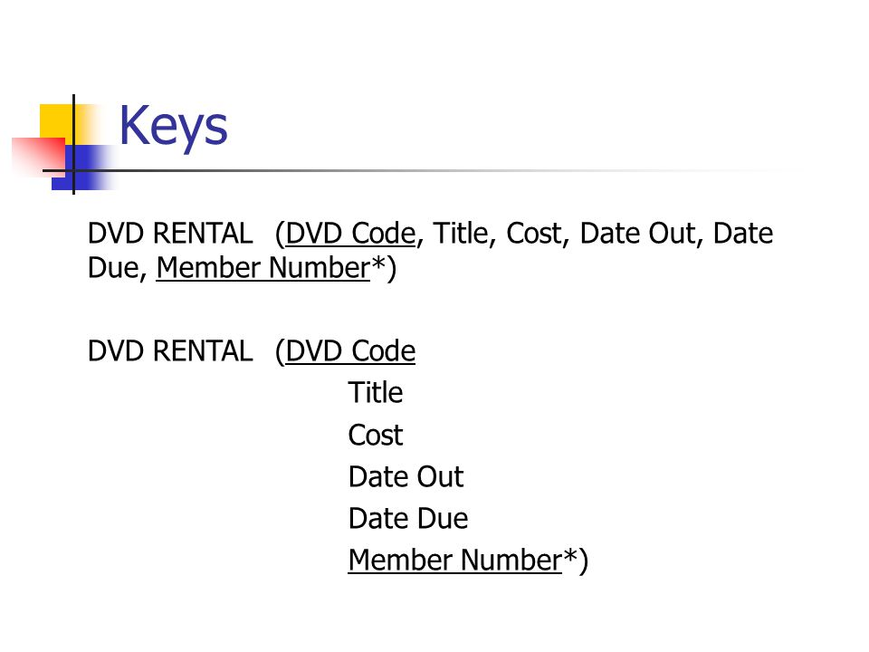Keys DVD RENTAL(DVD Code, Title, Cost, Date Out, Date Due, Member Number*) DVD RENTAL(DVD Code Title Cost Date Out Date Due Member Number*)