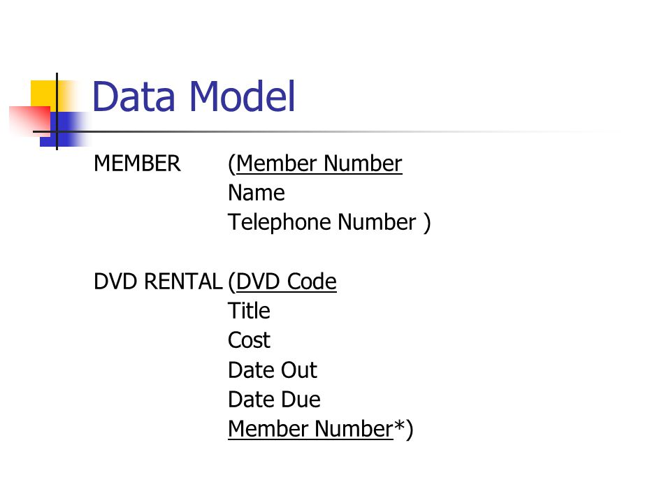 Data Model MEMBER(Member Number Name Telephone Number ) DVD RENTAL(DVD Code Title Cost Date Out Date Due Member Number*)