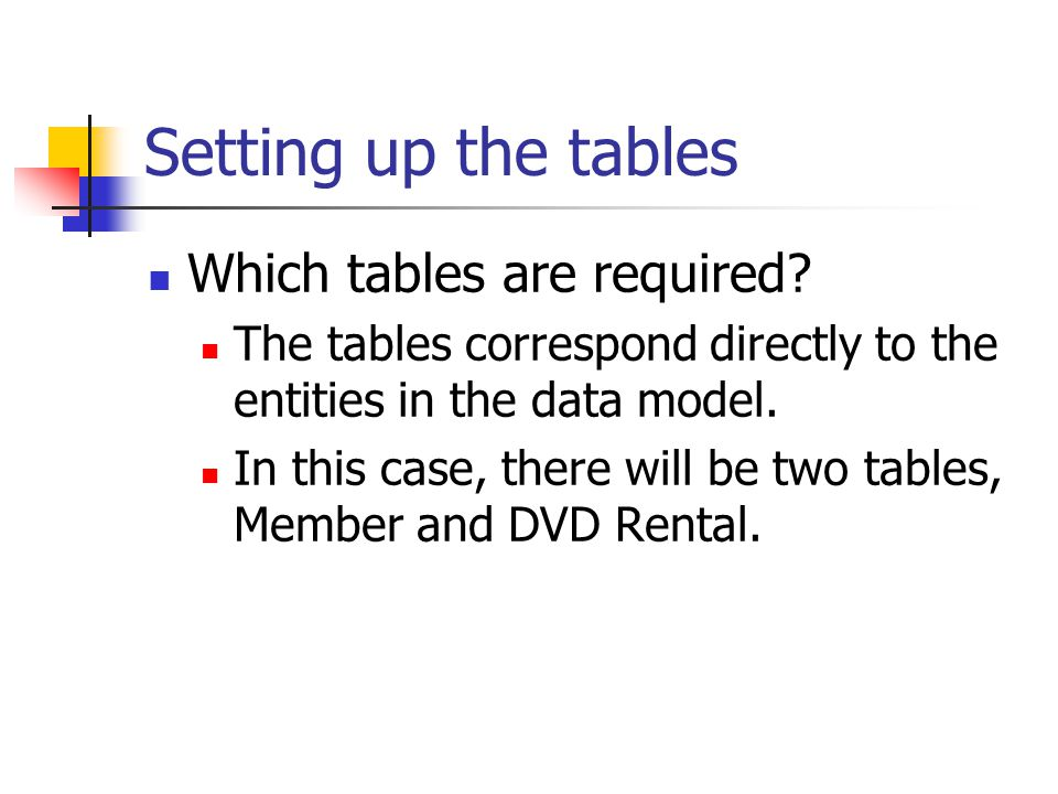 Setting up the tables Which tables are required? The tables correspond directly to the entities in the data model. In this case, there will be two tab