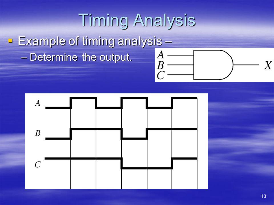 Timing Analysis Example of timing analysis – Example of timing analysis – –Determine the output. 13