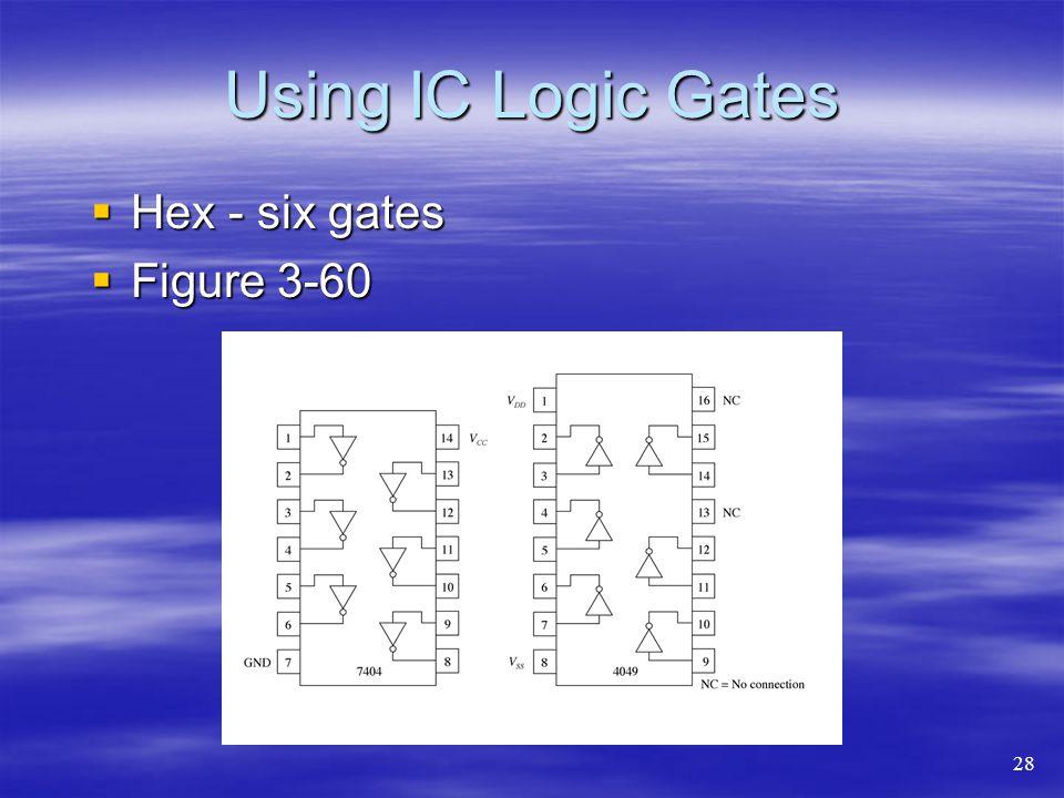 Using IC Logic Gates Hex - six gates Hex - six gates Figure 3-60 Figure 3-60 28
