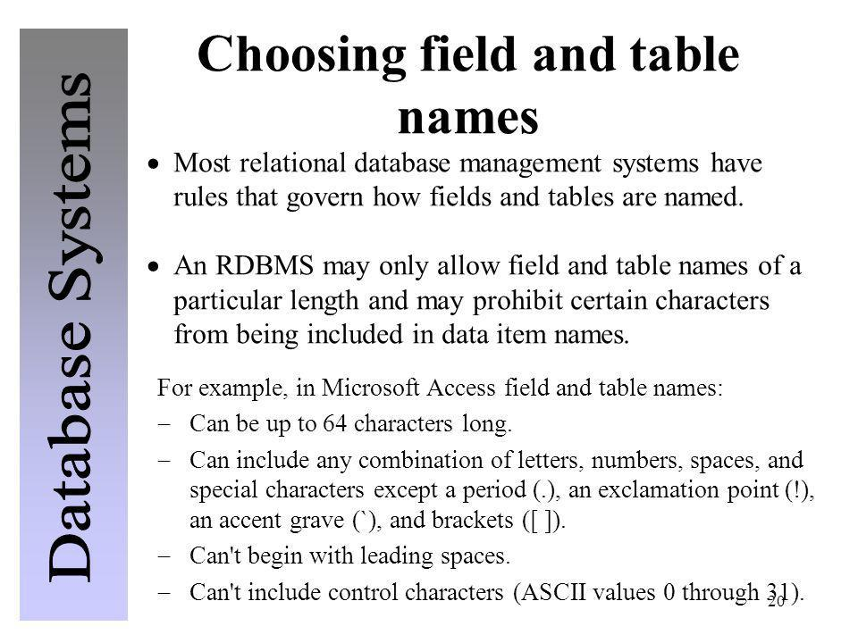 20 Choosing field and table names Most relational database management systems have rules that govern how fields and tables are named. An RDBMS may onl