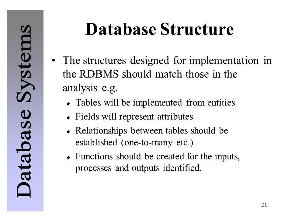 21 Database Structure The structures designed for implementation in the RDBMS should match those in the analysis e.g. Tables will be implemented from