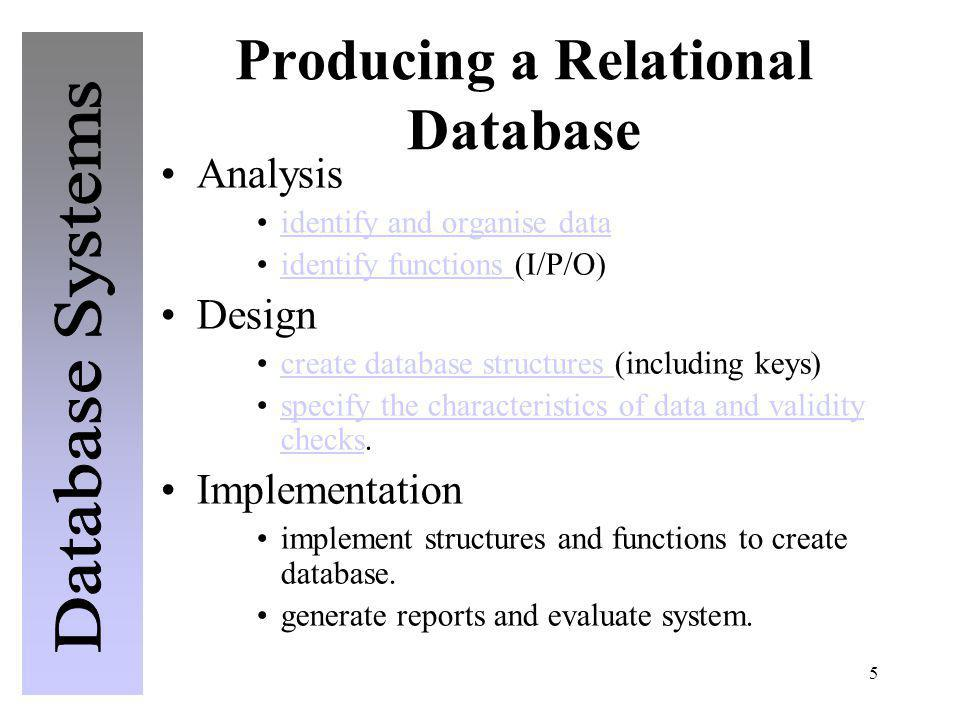 5 Producing a Relational Database Analysis identify and organise data identify functions (I/P/O)identify functions Design create database structures (