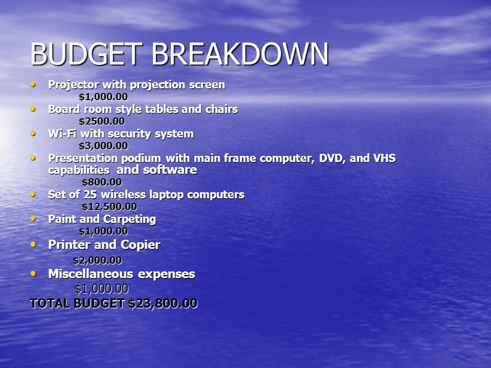 BUDGET BREAKDOWN Projector with projection screen Projector with projection screen$1,000.00 Board room style tables and chairs Board room style tables and chairs$2500.00 Wi-Fi with security system Wi-Fi with security system$3,000.00 Presentation podium with main frame computer, DVD, and VHS capabilities and software Presentation podium with main frame computer, DVD, and VHS capabilities and software $800.00 $800.00 Set of 25 wireless laptop computers Set of 25 wireless laptop computers $12,500.00 $12,500.00 Paint and Carpeting Paint and Carpeting $1,000.00 $1,000.00 Printer and Copier Printer and Copier $2,000.00 $2,000.00 Miscellaneous expenses Miscellaneous expenses $1,000.00 $1,000.00 TOTAL BUDGET $23,800.00
