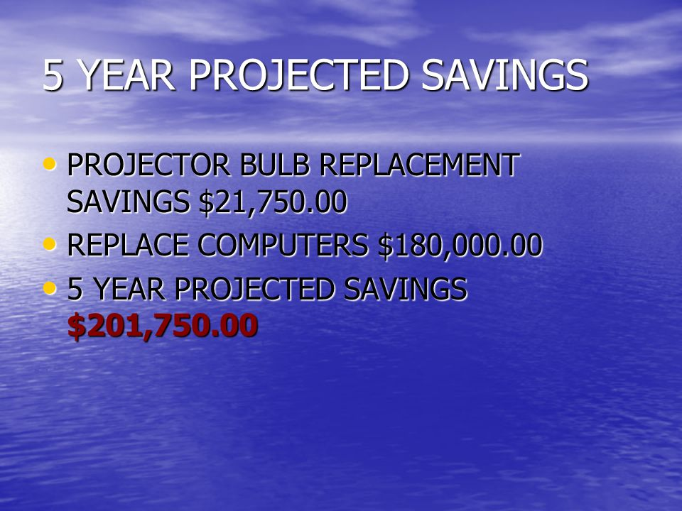 5 YEAR PROJECTED SAVINGS PROJECTOR BULB REPLACEMENT SAVINGS $21,750.00 PROJECTOR BULB REPLACEMENT SAVINGS $21,750.00 REPLACE COMPUTERS $180,000.00 REPLACE COMPUTERS $180,000.00 5 YEAR PROJECTED SAVINGS $201,750.00 5 YEAR PROJECTED SAVINGS $201,750.00