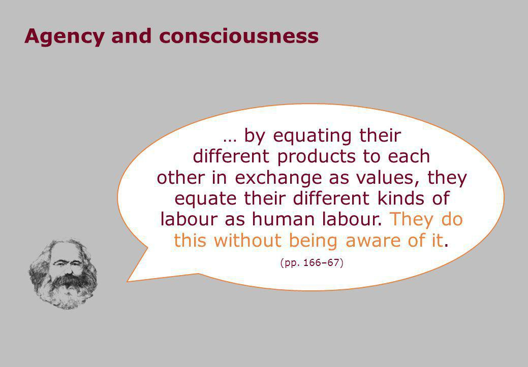 Agency and consciousness … by equating their different products to each other in exchange as values, they equate their different kinds of labour as human labour.