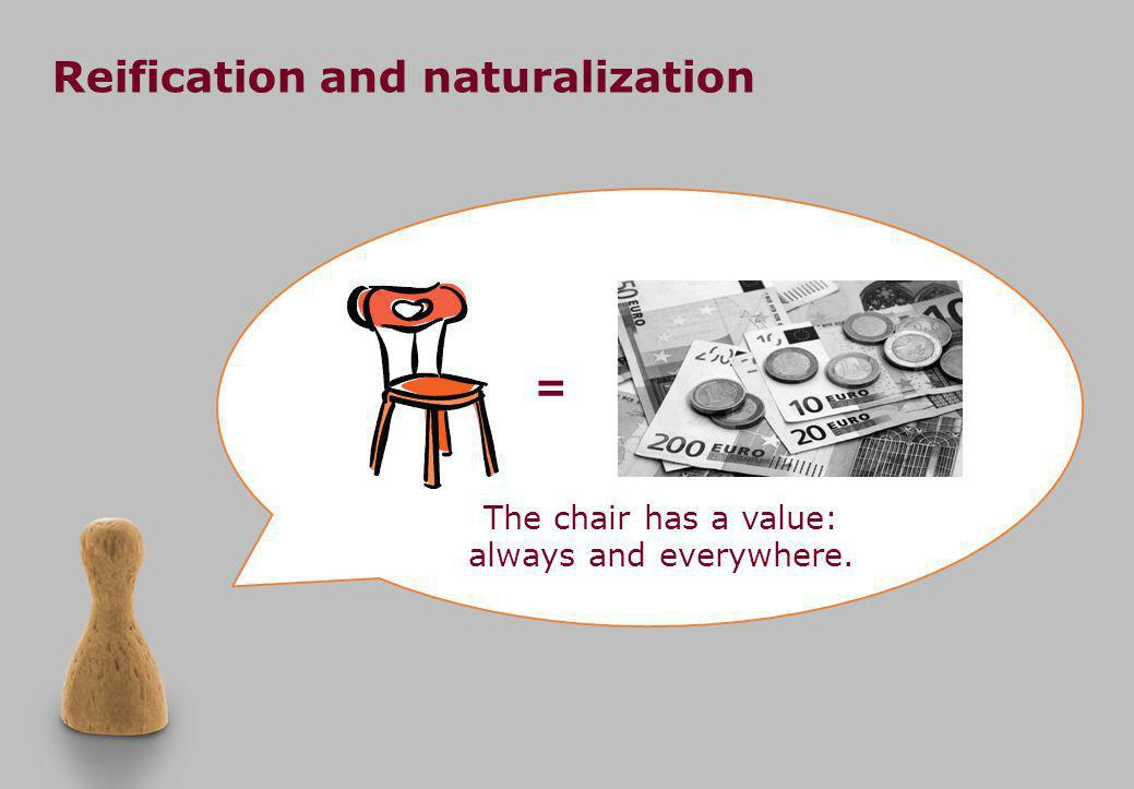 Reification and naturalization The chair has a value: always and everywhere. =