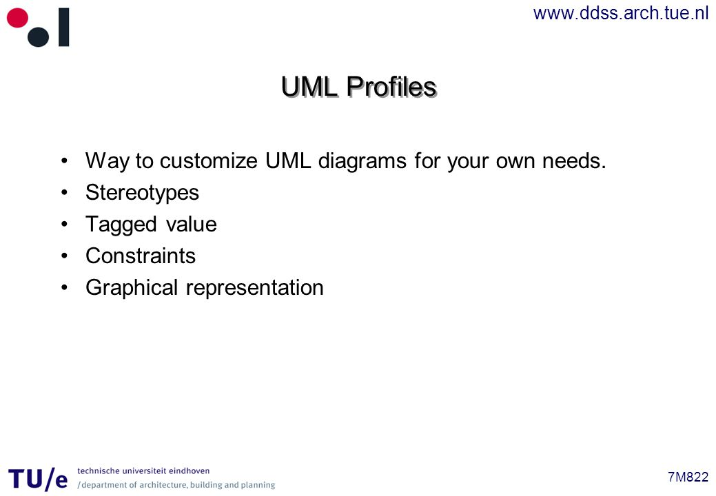www.ddss.arch.tue.nl 7M822 UML Profiles Way to customize UML diagrams for your own needs.