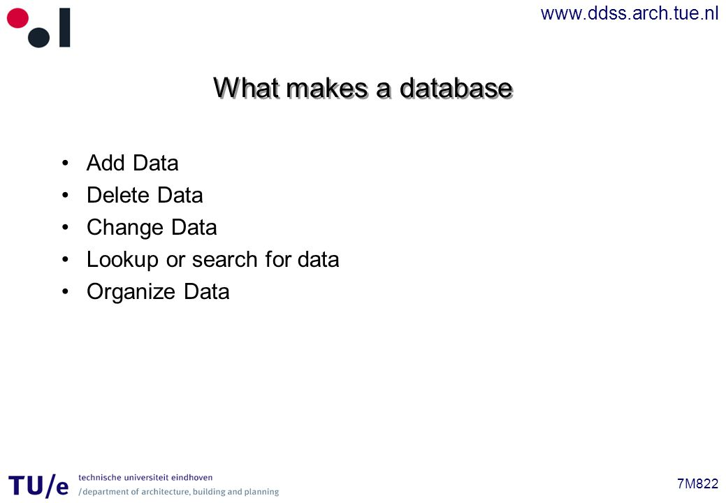www.ddss.arch.tue.nl 7M822 UML Profile for Database Design Rational Software Corporation For designing databases Uses tagged parameters and stereotypes Only a subset will be explained