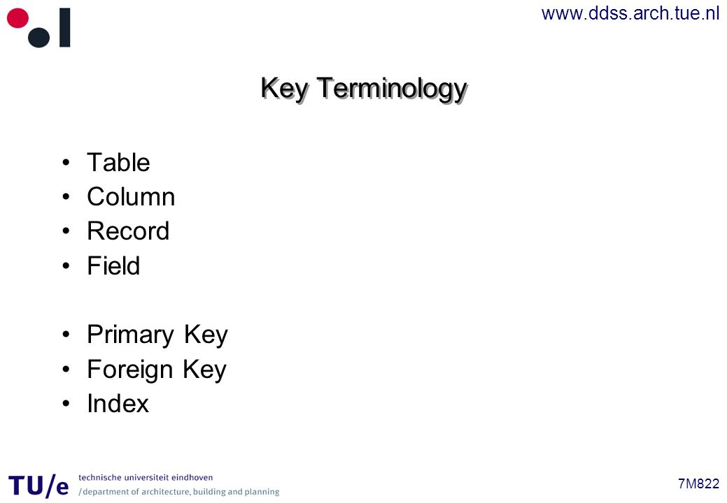 www.ddss.arch.tue.nl 7M822 Key Terminology Table Column Record Field Primary Key Foreign Key Index