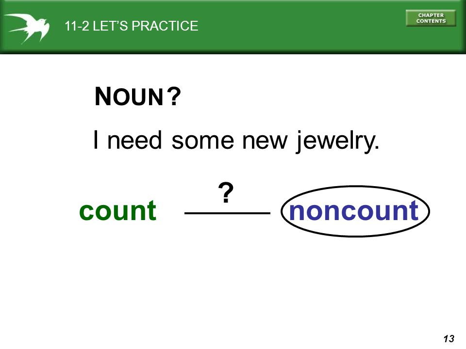 13 11-2 LETS PRACTICE I need some new jewelry. count N OUN noncount