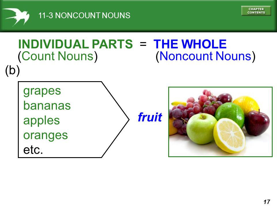 17 11-3 NONCOUNT NOUNS fruit grapes bananas apples oranges etc.