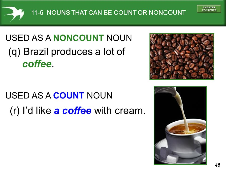45 11-6 NOUNS THAT CAN BE COUNT OR NONCOUNT USED AS A NONCOUNT NOUN (q) Brazil produces a lot of coffee.