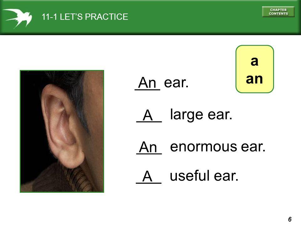 6 11-1 LETS PRACTICE a an ___ ear. An ___ large ear. A ___ enormous ear. An ___ useful ear. A