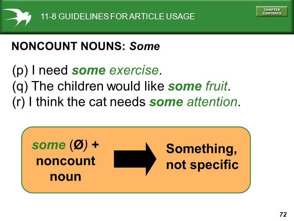 72 11-8 GUIDELINES FOR ARTICLE USAGE NONCOUNT NOUNS: Some (p) I need some exercise.